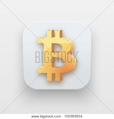 Money luxury icon. Currency Symbol of Gold Bitcoin on light backdrop with shadow. Vector Illustration Isolated on background
