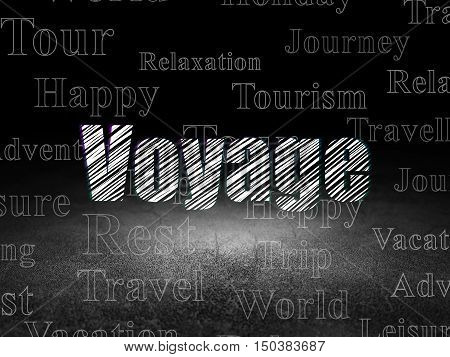 Tourism concept: Glowing text Voyage in grunge dark room with Dirty Floor, black background with  Tag Cloud