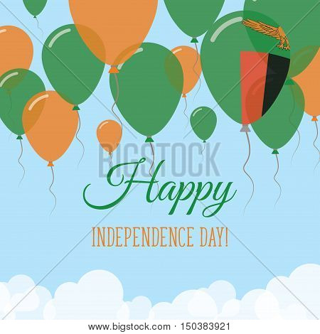 Zambia Independence Day Flat Greeting Card. Flying Rubber Balloons In Colors Of The Zambian Flag. Ha