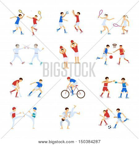 Athletes Kids set, Sport characters for infographics and other projects. Children doing many sports and activities. Cartoon vector eps10 illustration.