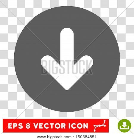 Arrow Down round icon. Vector EPS illustration style is flat iconic bicolor symbol, white and silver colors, transparent background.