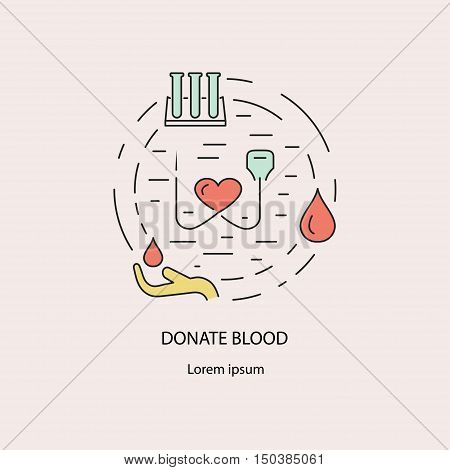 Banner with blood donation symbols and transfusion process icons. Donor thin line concept. Set vector illustration.