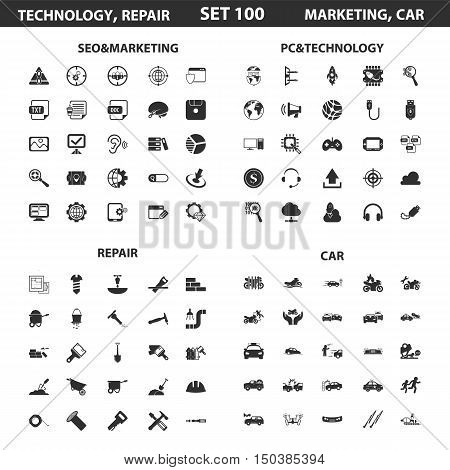 Seo, marketing set 100 black simple icons.Pc, technology, car, repair icon design for web and mobile device.