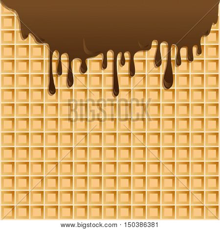 Vector background with melting chocolate on wafer.