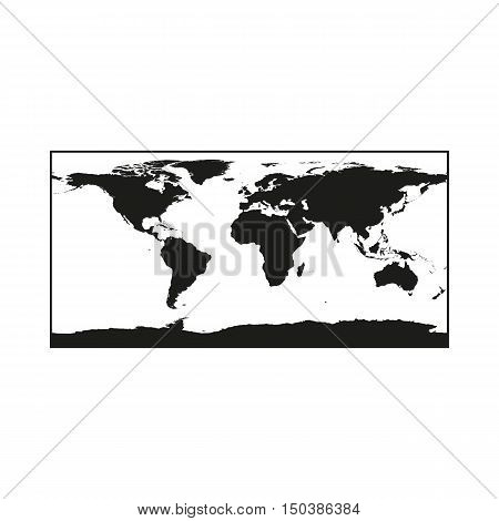 Black Political World Map Illustration Icon Created For Mobile Web Decor Print Products Applications. Black icon isolated on white background. Vector illustration.