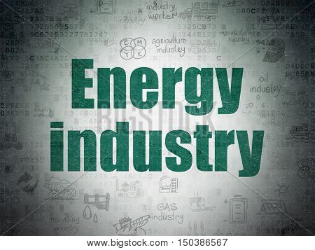 Industry concept: Painted green text Energy Industry on Digital Data Paper background with   Hand Drawn Industry Icons