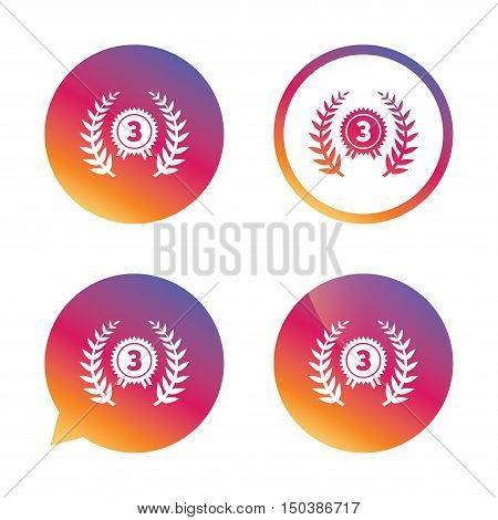 Third place award sign icon. Prize for winner symbol. Laurel Wreath. Gradient buttons with flat icon. Speech bubble sign. Vector