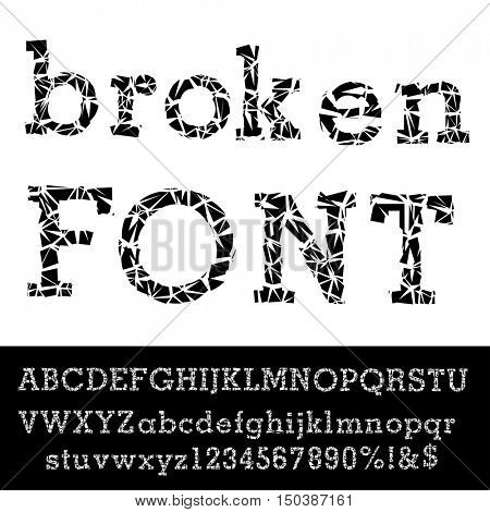 grunge broken alphabet, vector broken glass font