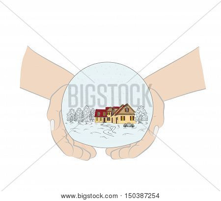 snow globe in hands. Christmas and New Year's composition. vector illustration.