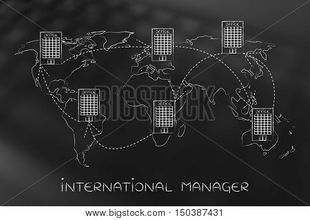 Group Of Linked International Offices On Map Of The World