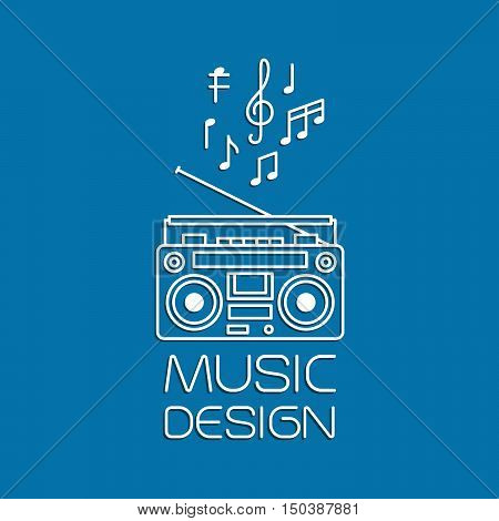 Music design with magnetic cassette player thin line vector logo