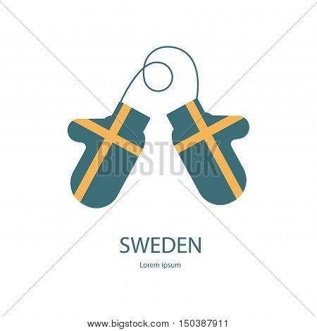 Sweden mitten with flag. Bright warm gauntlet in the Country National Colors. Country Flag Vector eps10 Illustration.
