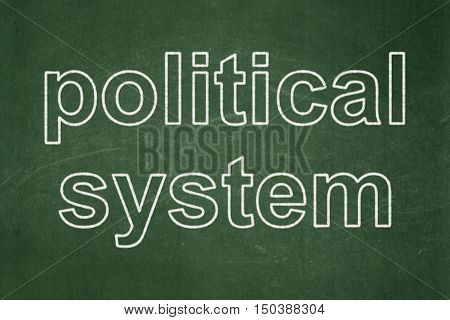 Political concept: text Political System on Green chalkboard background