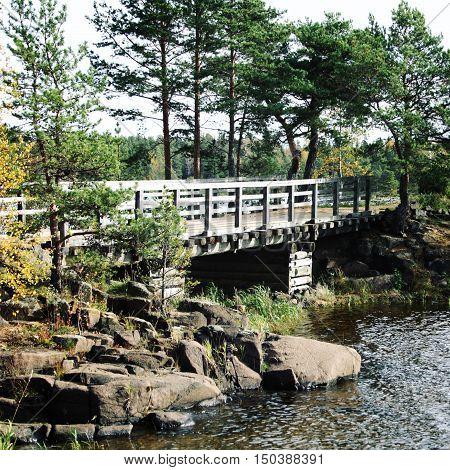 Pedestrian Timber Bridge On The Valaam Island.