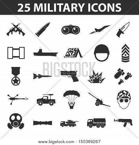 Military set 25 black simple icons. Army and weapon icon design for web and mobile device.