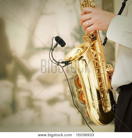 playing on sax