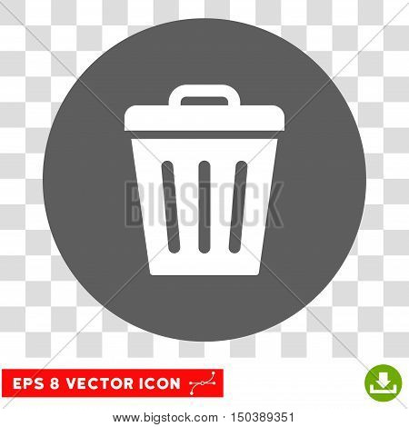 Trash Can round icon. Vector EPS illustration style is flat iconic bicolor symbol, white and silver colors, transparent background.