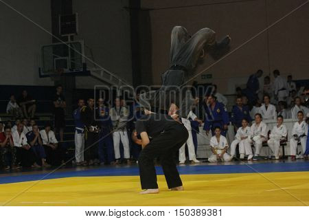 BELGRADE,SERBIA - SEPTEMBER 24, 2016: Fighters demonstrate actions at martial arts evening
