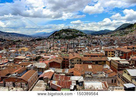 Panoramic view over the city of Quito; Ecuador