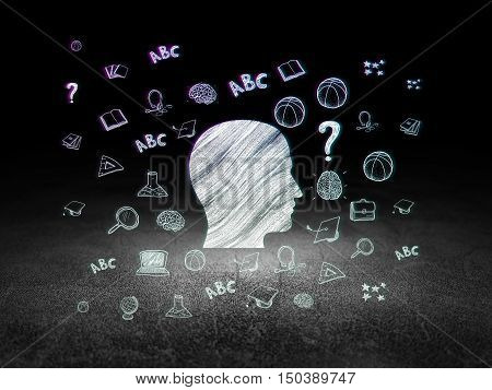 Education concept: Glowing Head icon in grunge dark room with Dirty Floor, black background with  Hand Drawn Education Icons