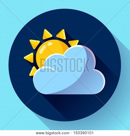 Vector flat color weather icon meteorology icon with long shadow - partly sunny