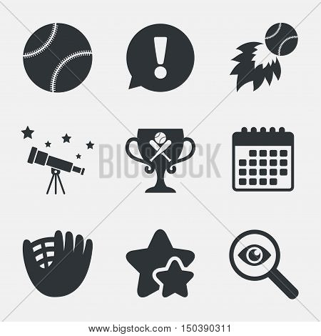 Baseball sport icons. Ball with glove and two crosswise bats signs. Fireball with award cup symbol. Attention, investigate and stars icons. Telescope and calendar signs. Vector