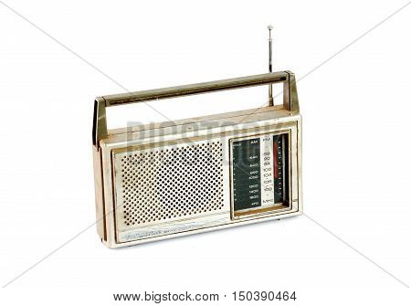 picture of a Vintage Dusty Retro Radio on white background