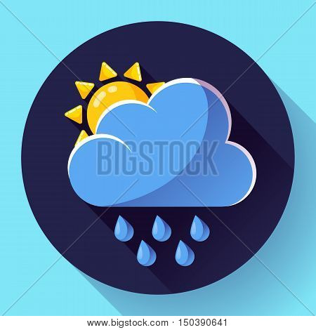 Vector flat color weather icon meteorology icon with long shadow - rain and sun