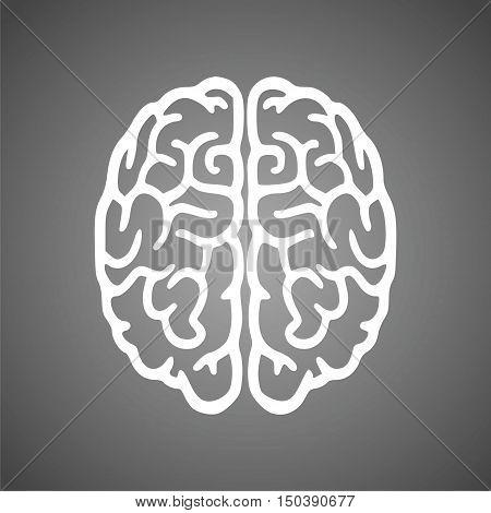 Brain icon, Brain Logo silhouette on gray background