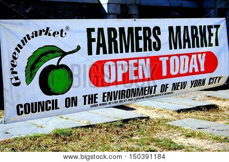 New York City - October 1 2005: Greenmarket advertising banner at the 155th Street and Broadway farmer's market in upper Manhattan