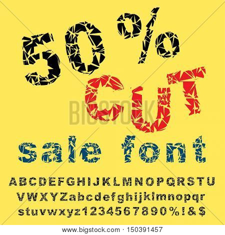 grunge broken alphabet, vector broken glass font, letters for sale promotion