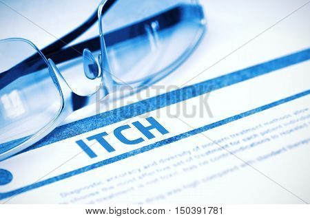 Itch - Medicine Concept on Blue Background with Blurred Text and Composition of Glasses. Itch - Medicine Concept with Blurred Text and Specs on Blue Background. Selective Focus. 3D Rendering.