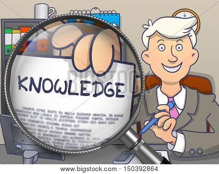 Knowledge on Paper in Business Man's Hand to Illustrate a Business Concept. Closeup View through Magnifying Glass. Multicolor Doodle Style Illustration.
