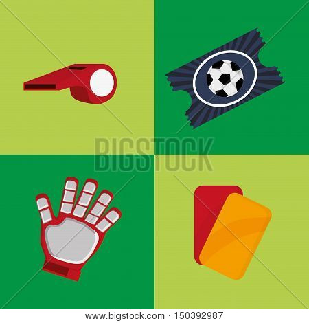 glove with whistle cards and ticket soccer football related icons image vector illustration design