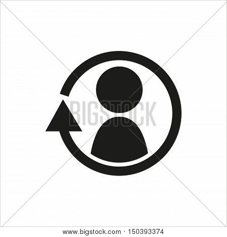 Synchronize update icon with man in the center. Created For Mobile Web Decor Print Products Applications. Black icon isolated. Vector illustration.
