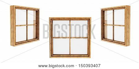 Wooden window closed view from inside isolated on white background 3d render