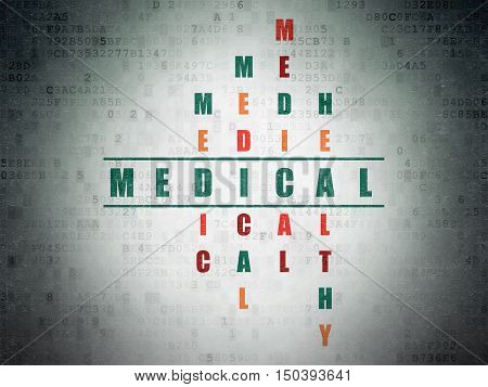 Health concept: Painted green word Medical in solving Crossword Puzzle on Digital Data Paper background