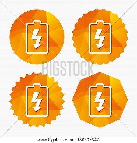 Battery charging sign icon. Lightning symbol. Triangular low poly buttons with flat icon. Vector