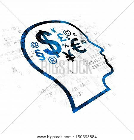 Marketing concept: Pixelated blue Head With Finance Symbol icon on Digital background
