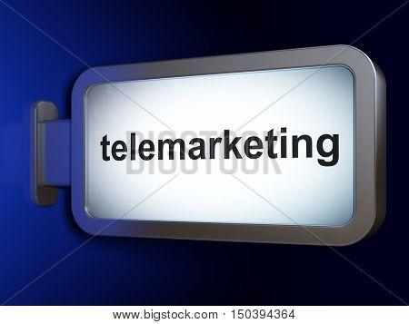Advertising concept: Telemarketing on advertising billboard background, 3D rendering