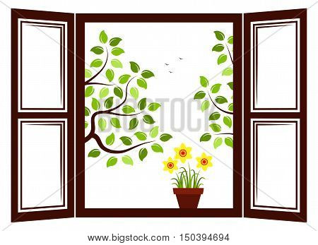vector daffodils in pot in the window and trees outside the window