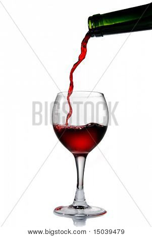 Pouring red wine into the goblet