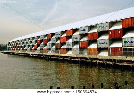 New York City - March 30 2005: The temporary Nomadic Museum built on an abandonned Hudson River pier from corrugated shipping containers