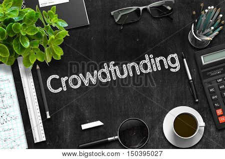 Black Chalkboard with Crowdfunding Concept. 3d Rendering.