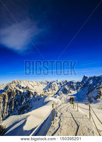 Valle Blanche starting point from the Aiguille du Midi, Mont Bla