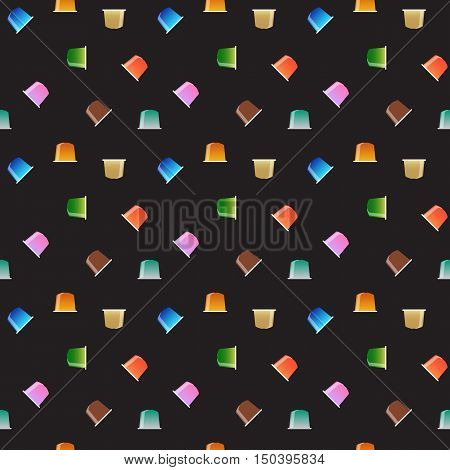 Coffee capsules seamless pattern, vector illustration. Multicolored coffee pods texture. Coffee capsule concept. Seamless espresso pods on black. Espresso drink pods pattern.