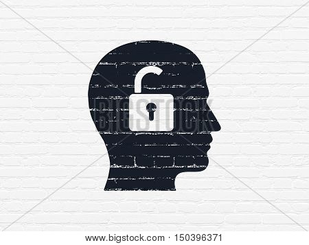 Business concept: Painted black Head With Padlock icon on White Brick wall background