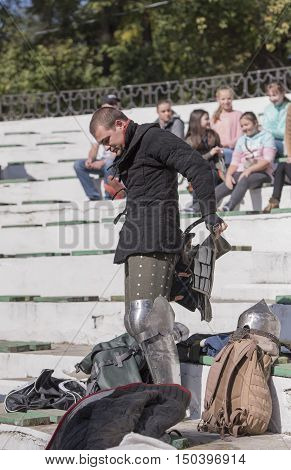 Rostov-on-Don Russia- October 01 2016: Fight knights in the arena of the park W. Cherevichkin.Knight wears armor