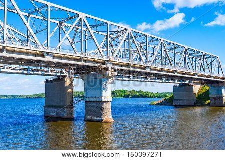 Railway Bridge Over The River On A Concrete Base