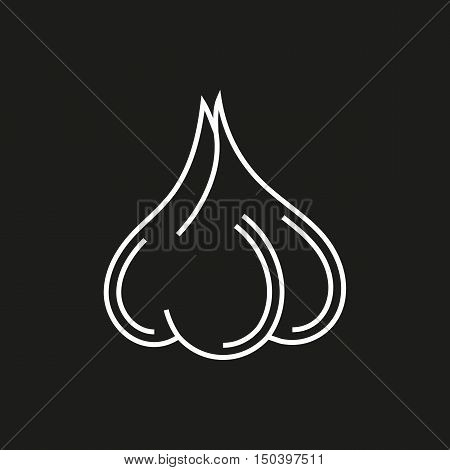 Garlic simple icon on black background Created For Mobile Web Decor Print Products Applications. Vector illustration.